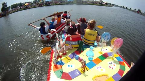 This archive video from 2011 shows action from the cardboard boat regatta at Ankeny's SummerFest, with on-board views from two of the boats.