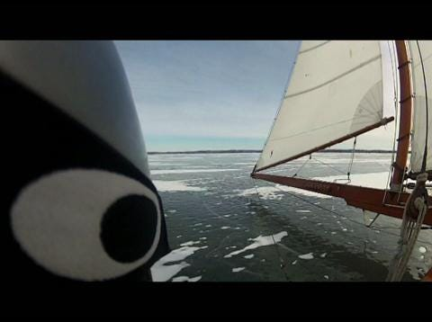 The 50 foot Jack Frost, built in 1892, once sailed the Hudson River. The Lawrence family of Newburgh, New York, brought the iceboat to Fond du Lac, Wisconsin for a regatta in 2013. Patrick Flood video.
