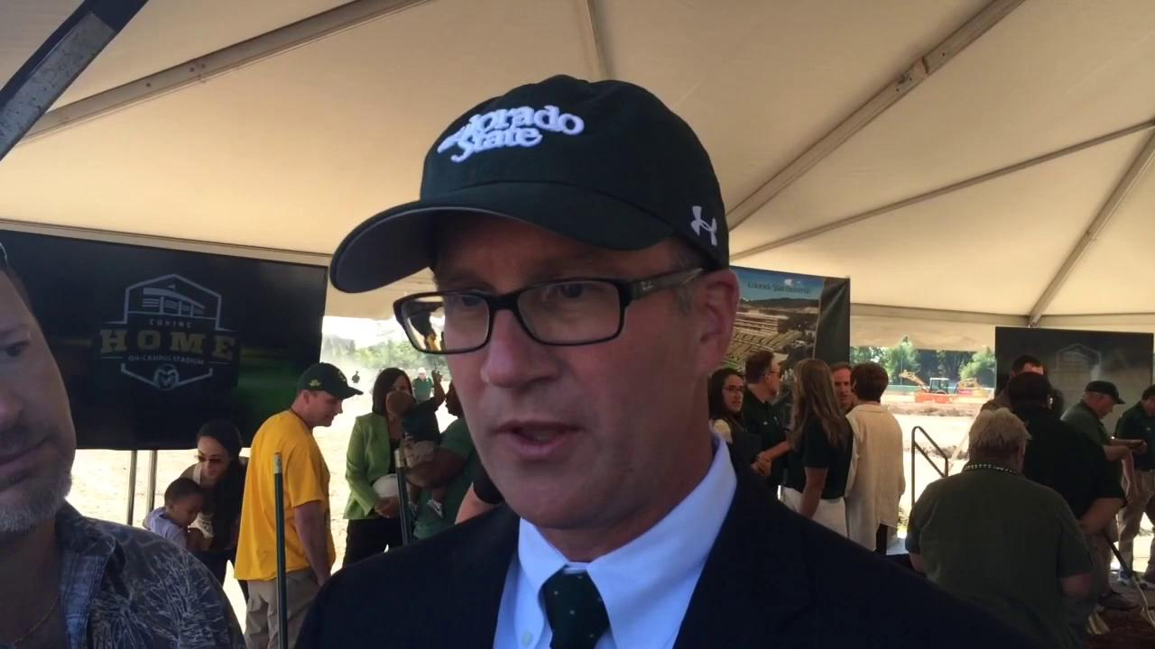CSU AD Joe Parker talks to reporters at stadium groundbreaking