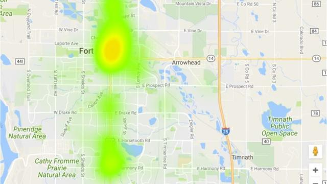 Map Transient complaints spreading across Fort Collins
