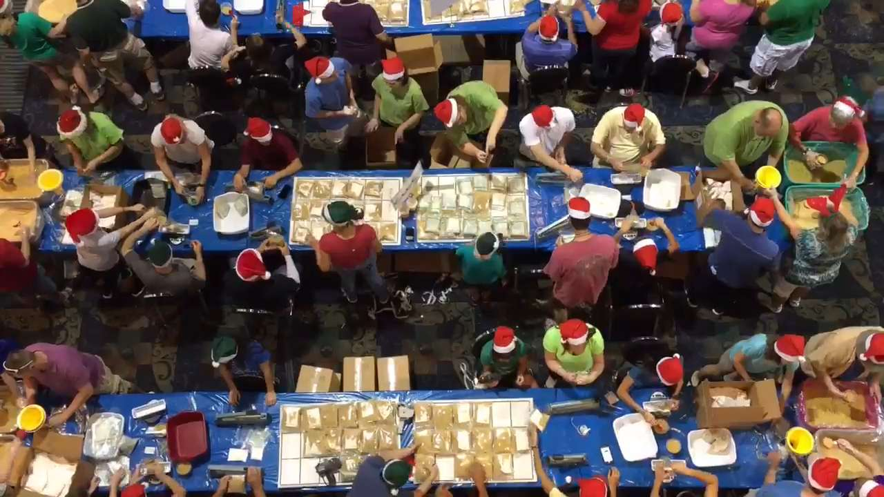 Two thousand volunteers packed more than 607,000 meals for Harry Chapin Food Bank Thursday during the 2016 Holidays Without Hunger event at Harborside Event Center in Fort Myers.