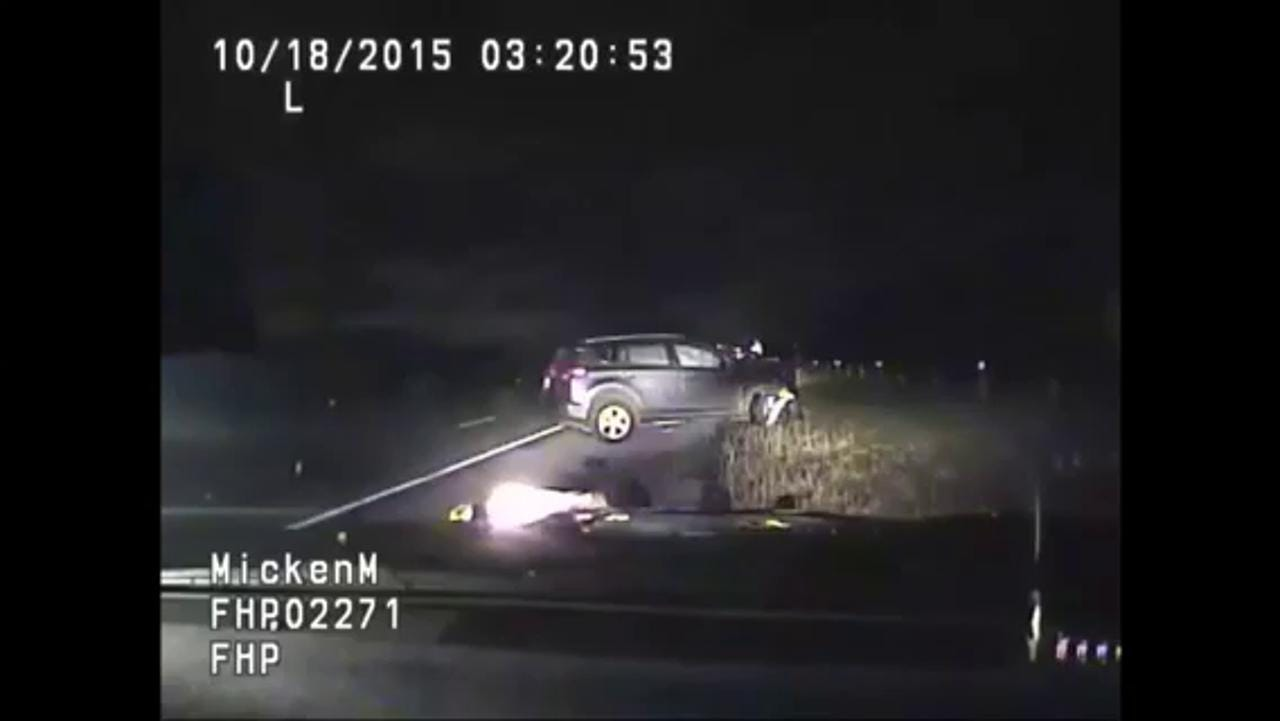 Florida Highway Patrol trooper being struck by motorist. Video footage provided by the Florida Department of Highway Safety and Motor Vehicles.