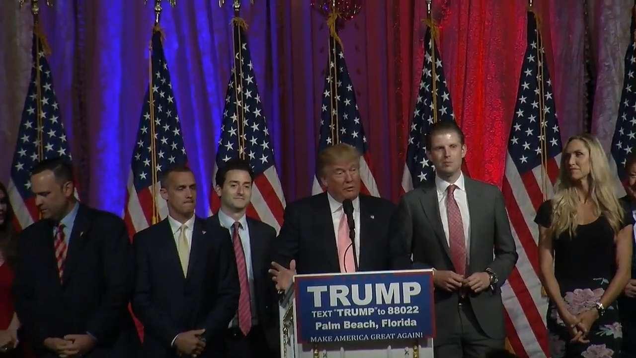 Donald Trump speaks after winning Florida primary