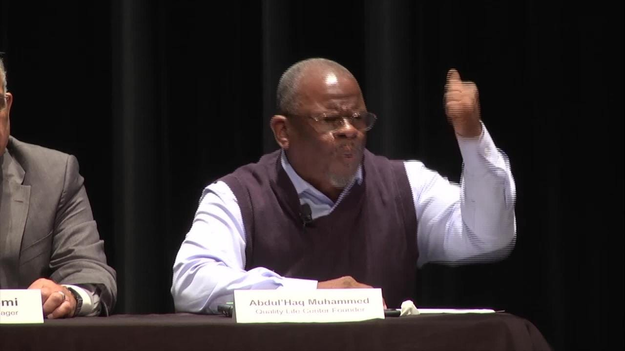 Abdul'Haq Muhammed, executive director of Quality Life Center, spoke passionately. (Video Produced by Harmon's Audio Visual)