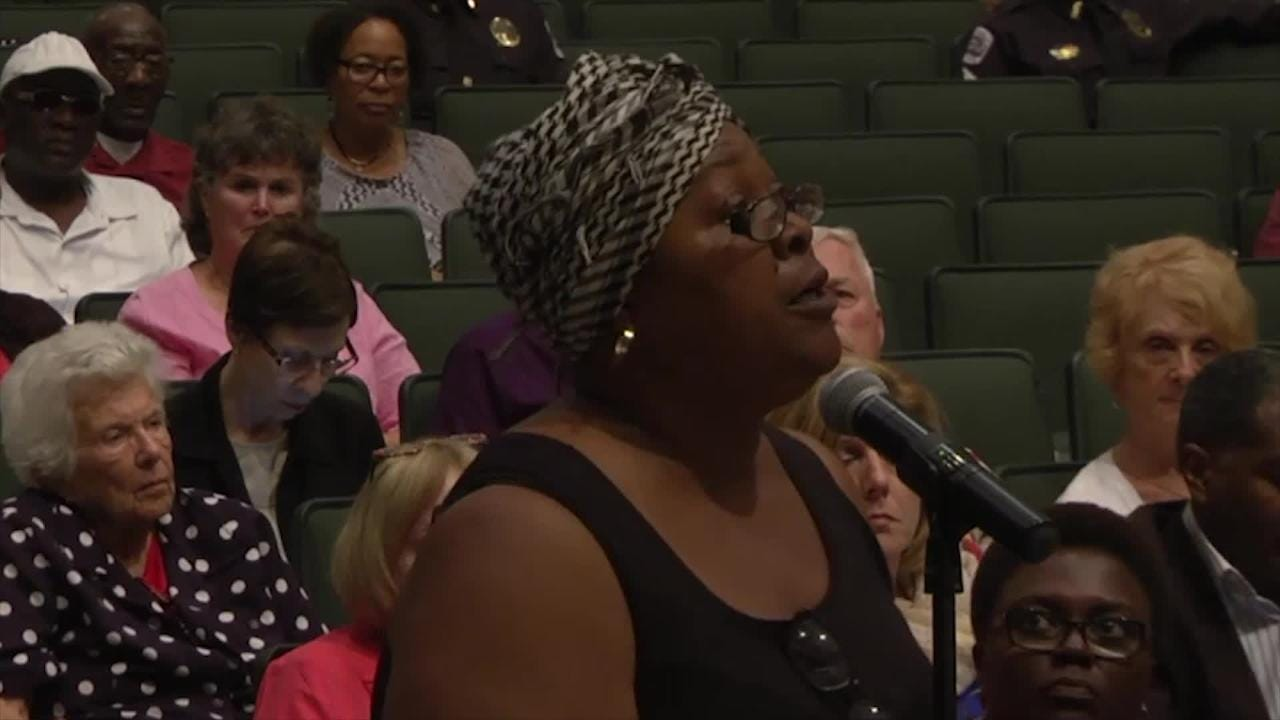 Maria McCant, whose son, Leon Jones, was killed in 2002, spoke directly to Fort Myers Mayor, Randy Henderson, during her time at the mic.  (Video produced by Harmon's Audio Visual)