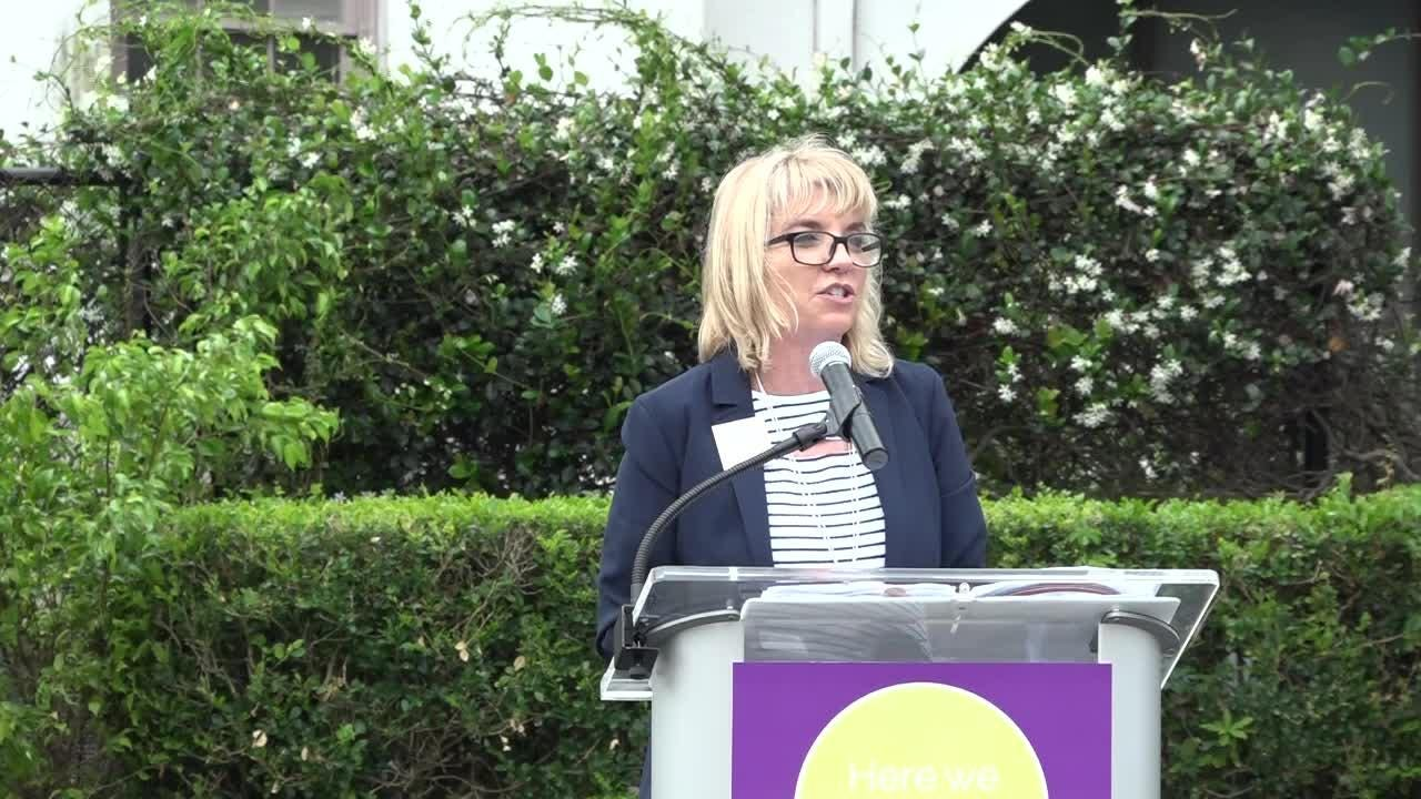 """Sarah Owen announces the Community  Foundations plans for expansion into the former history museum with the addition of the Sarah Owen announces an addition called a """"Collaboratory."""""""