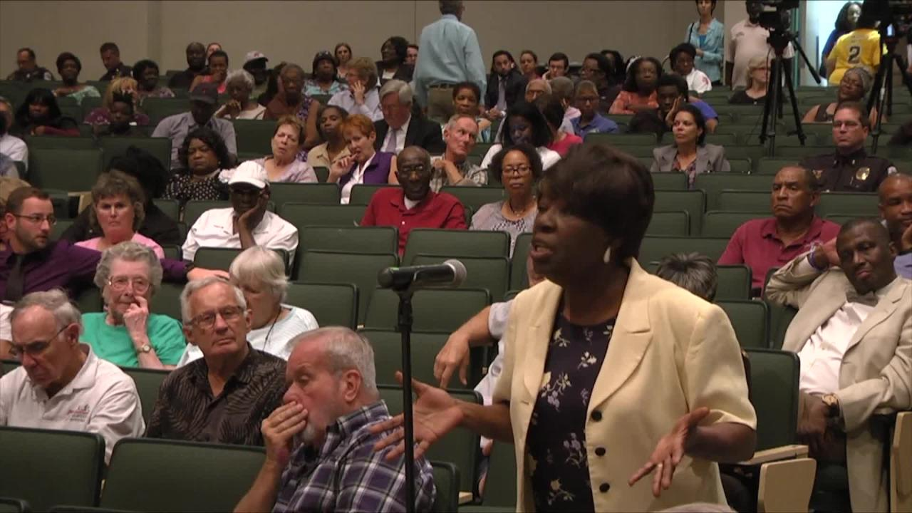 Pastor Veola Dunn asked a question to the panel.  (Video produced by Harmon's Audio Visual)