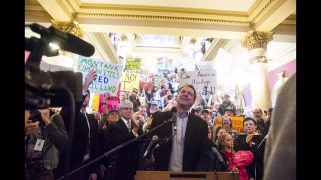 Governor Steve Bullock delivers an impassioned speech at the Jan. 30 Public Lands in Public Hands rally in the rotunda of the Helena Capitol Building.