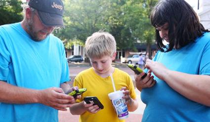 """Locals swarm downtown Anderson to play """"Pokemon Go"""" on Tuesday, July 12, 2016."""