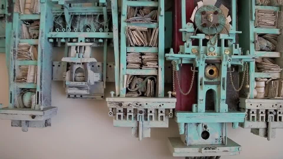 Jonathan Andrews is an artist and freelance designer living in Greenville, most known for his mixed media sculptures that are carefully composed with found and sculpted elements of wood, metal, paper and other aged ephemera.