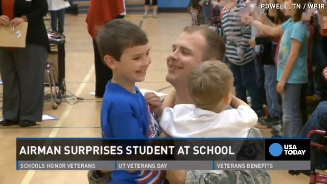 Airman surprises son at school on Veterans Day