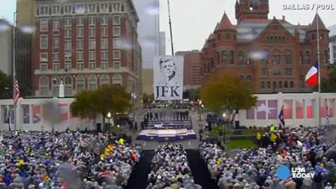Thousands honor JFK in solemn ceremony at Dealey Plaza