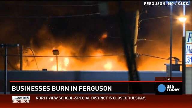 Ferguson: Violent protests, building fires
