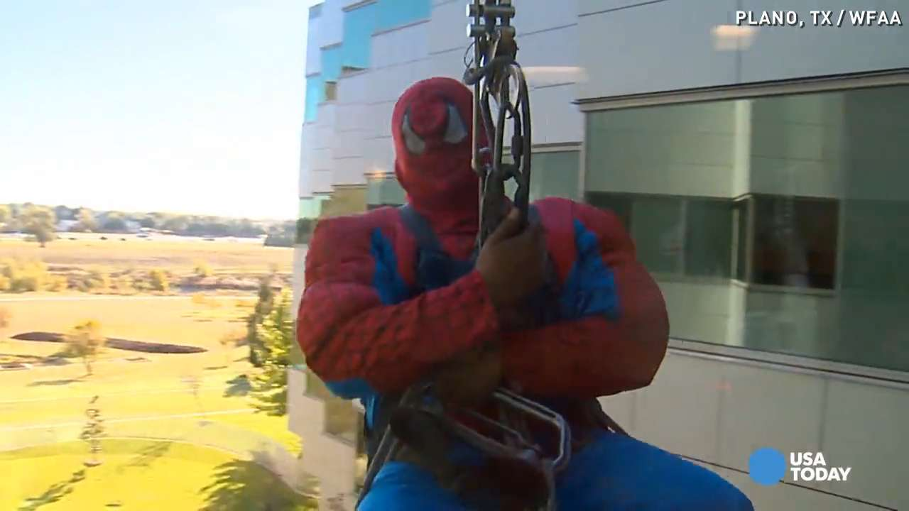 'Spiderman' scales down window of children's hospital