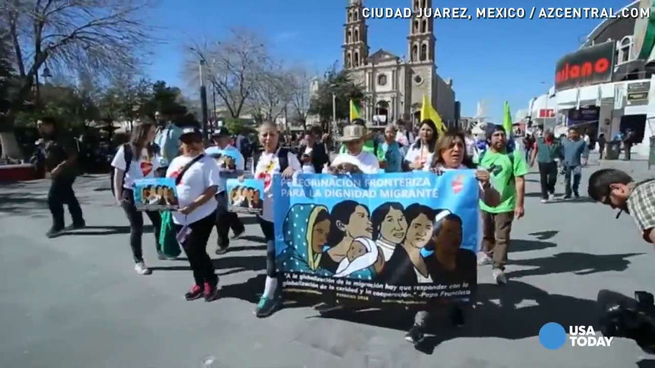 Women inspired by pope walk from Mexico to the U.S.