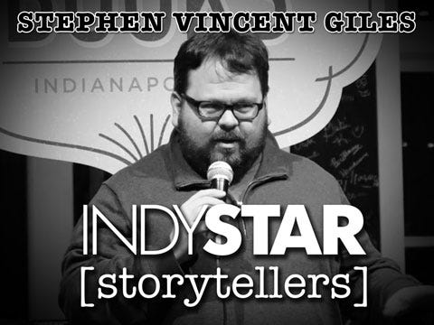 Giles was the sixth storyteller at the inaugural IndyStar Storytellers event held Thursday, Feb. 11, 2016, at Indy Reads Books, 911 Massachusetts Ave., Indianapolis.