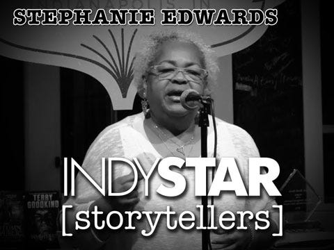 Edwards was the fourth storyteller at the inaugural IndyStar Storytellers event held Thursday, Feb. 11, 2016, at Indy Reads Books, 911 Massachusetts Ave., Indianapolis.