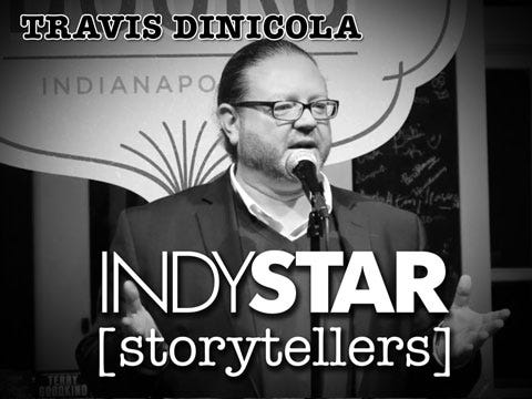 The executive director of Indy Reads led off the inaugural IndyStar Storytellers event held Thursday, Feb. 11, 2016, at Indy Reads Books, 911 Massachusetts Ave., Indianapolis.