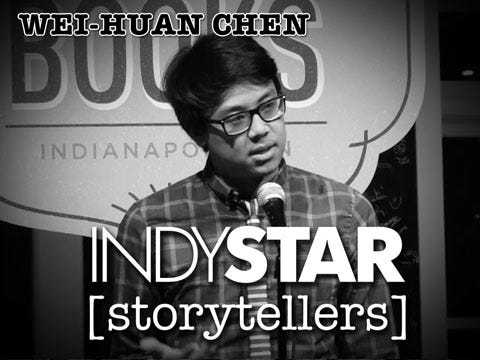 IndyStar arts reporter Wei-Huan Chen was the fifth storyteller at the inaugural IndyStar Storytellers event held Thursday, Feb. 11, 2016, at Indy Reads Books, 911 Massachusetts Ave., Indianapolis.