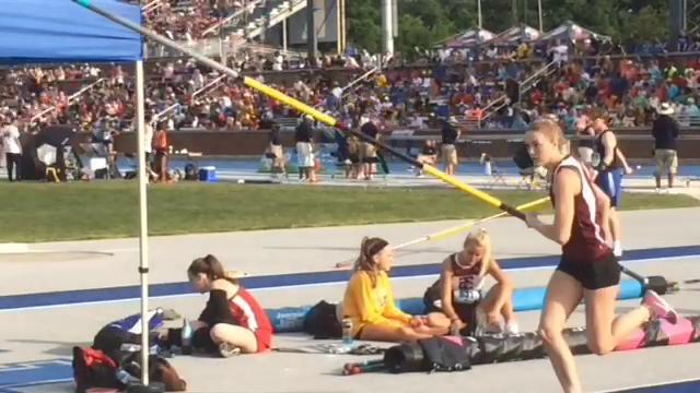 Henderson County junior Jaci Bickett wins her third state championship in the pole vault as she breaks her own state record with a vault of 13 feet, 3 inches.