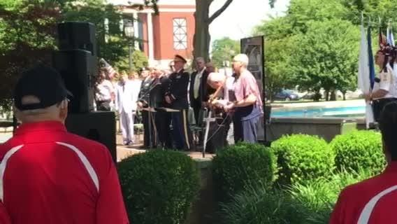 """""""God Bless America"""" was performed at a Memorial Day service Central Park in Henderson Monday."""