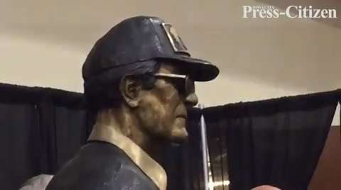 A statue dedicated to Hawkeyes legend and College Football Hall of Fame inductee Hayden Fry was unveiled during the 2016 FryFest in Coralville.