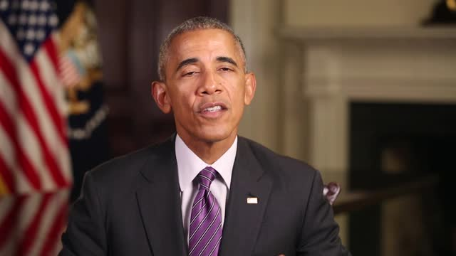 President Barack Obama appeared in a two-minute video thanking Marilynne Robinson for her work.