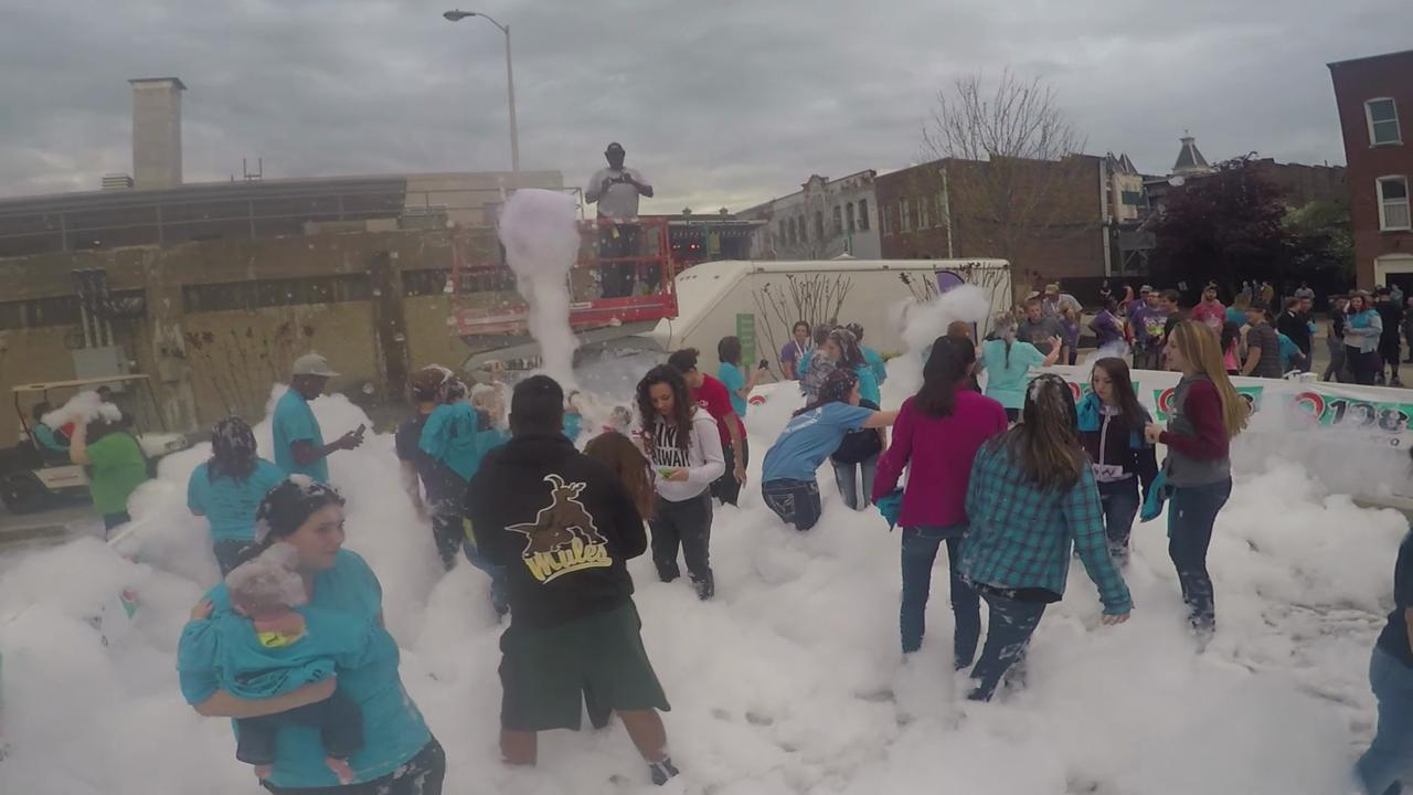 WATCH: Rivers and Spires foam party