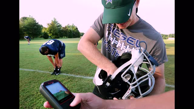 Siegel's new helmets have built-in  technology to monitor impact.