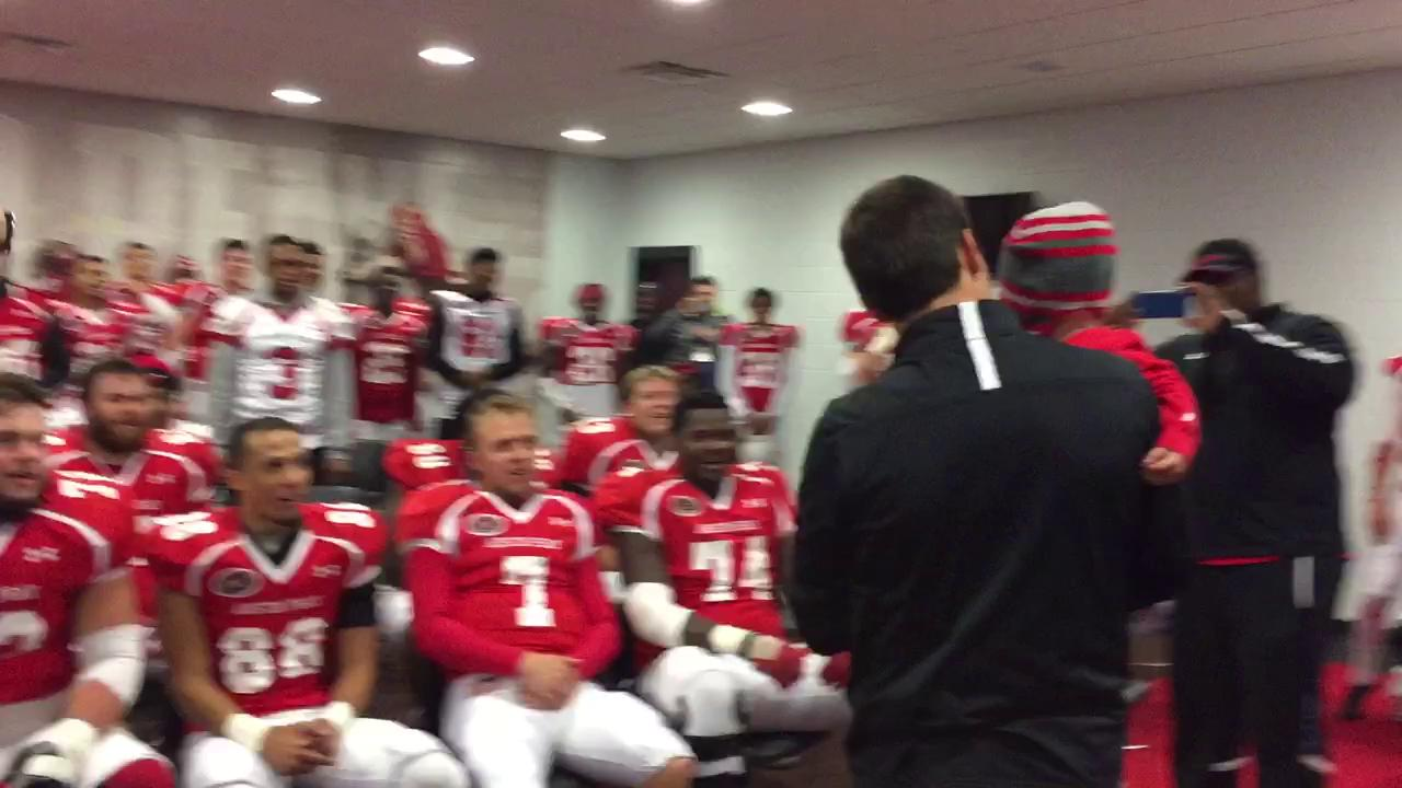 Austin Peay football team celebrates Eli Healy's birthday