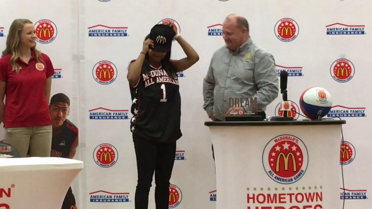 Video: Riverdale's Anastasia Hayes receives McDonald's All-American jersey