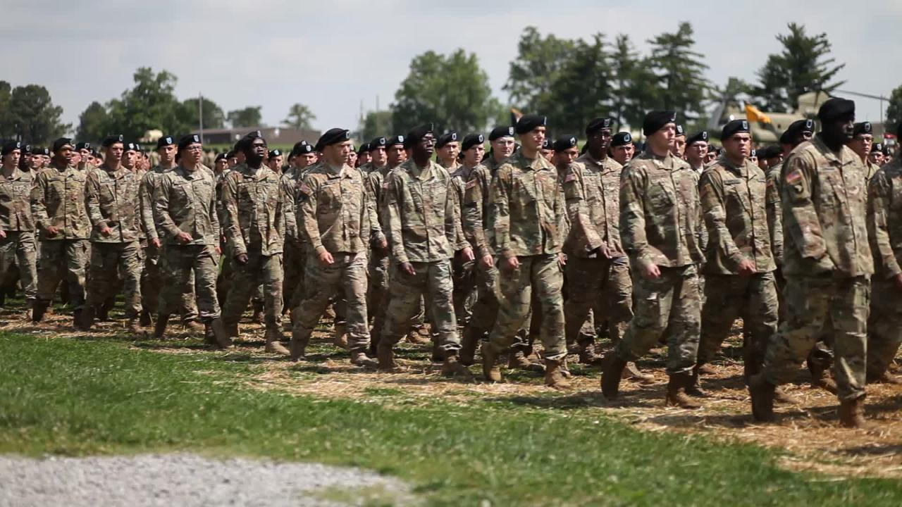 101st Airborne Division solders paraded in a Division Review Thursday, May 25, 2017, at Fort Campbell as part of Week of the Eagles.