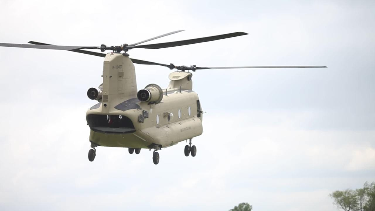 A Chinook helicopter lands at Fort Campbell during a 101st Airborne Division air assault demonstration as part of Week of the Eagles on Saturday, May 20, 2017.