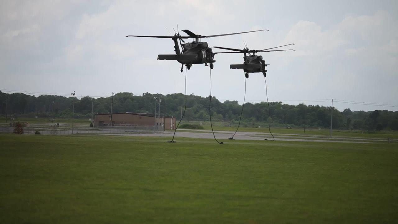 101st Airborne Division soldiers demonstrate an air assault at Fort Campbell on Saturday, May 20, 2017, during Week of the Eagles at Fort Campbell.