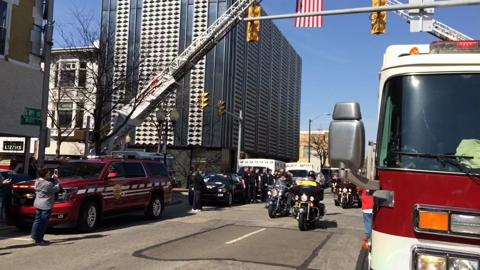 The hearse of Gerald Shepler is escorted through Richmond on March 9, 2017. An Army paratrooper in Korea, Shepler was listed for 66 years as missing in action.