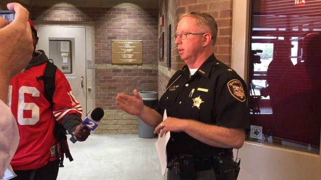 Sheriff Mike Simpson describes on May 1 how police came to arrest two suspects after the murder of a New Paris, Ohio, man.