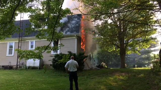 Ammunition exploded as firefighters battled a Leeds Road house fire Monday, June 5, 2017.