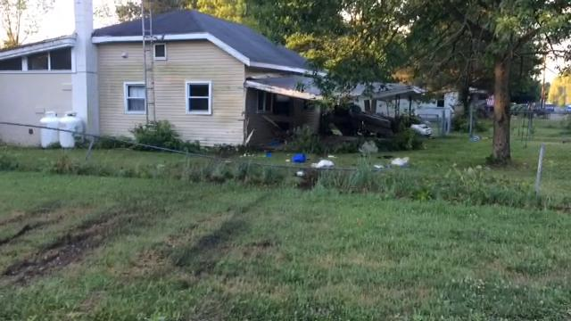 A Ford Thunderbird veered off Gravel Pit Road and struck a house Wednesday morning, injuring the car's driver, Jordan Jackson.