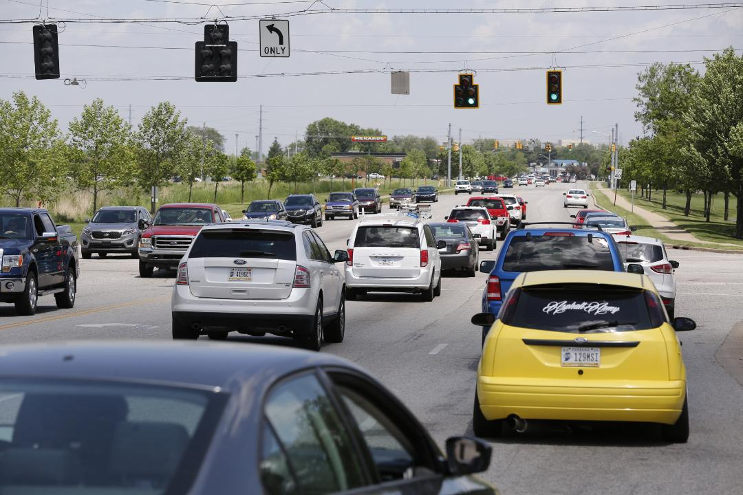 Journal & Courier reporter Ron Wilkins drives through two of the more bumpy intersections with U.S. 52 in Lafayette.