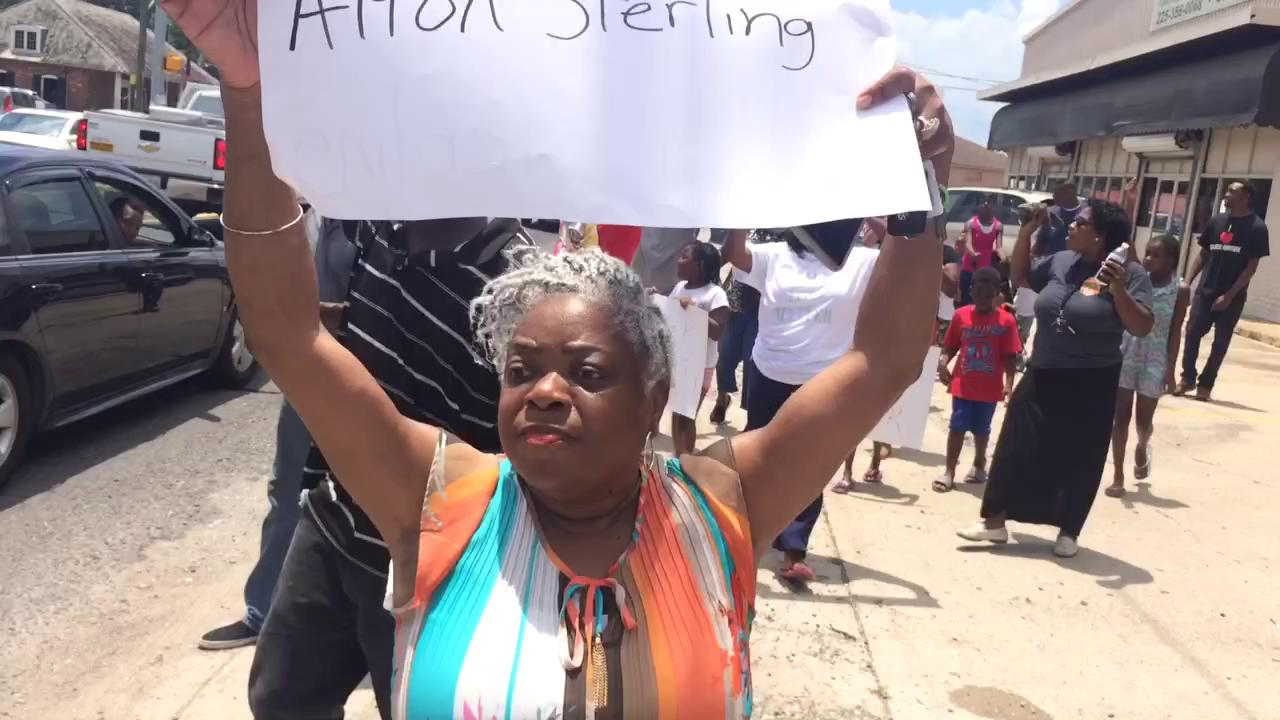 Watch: Protesters march in Baton Rouge