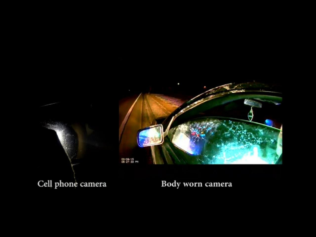 Side-by-side cell phone and body camera video