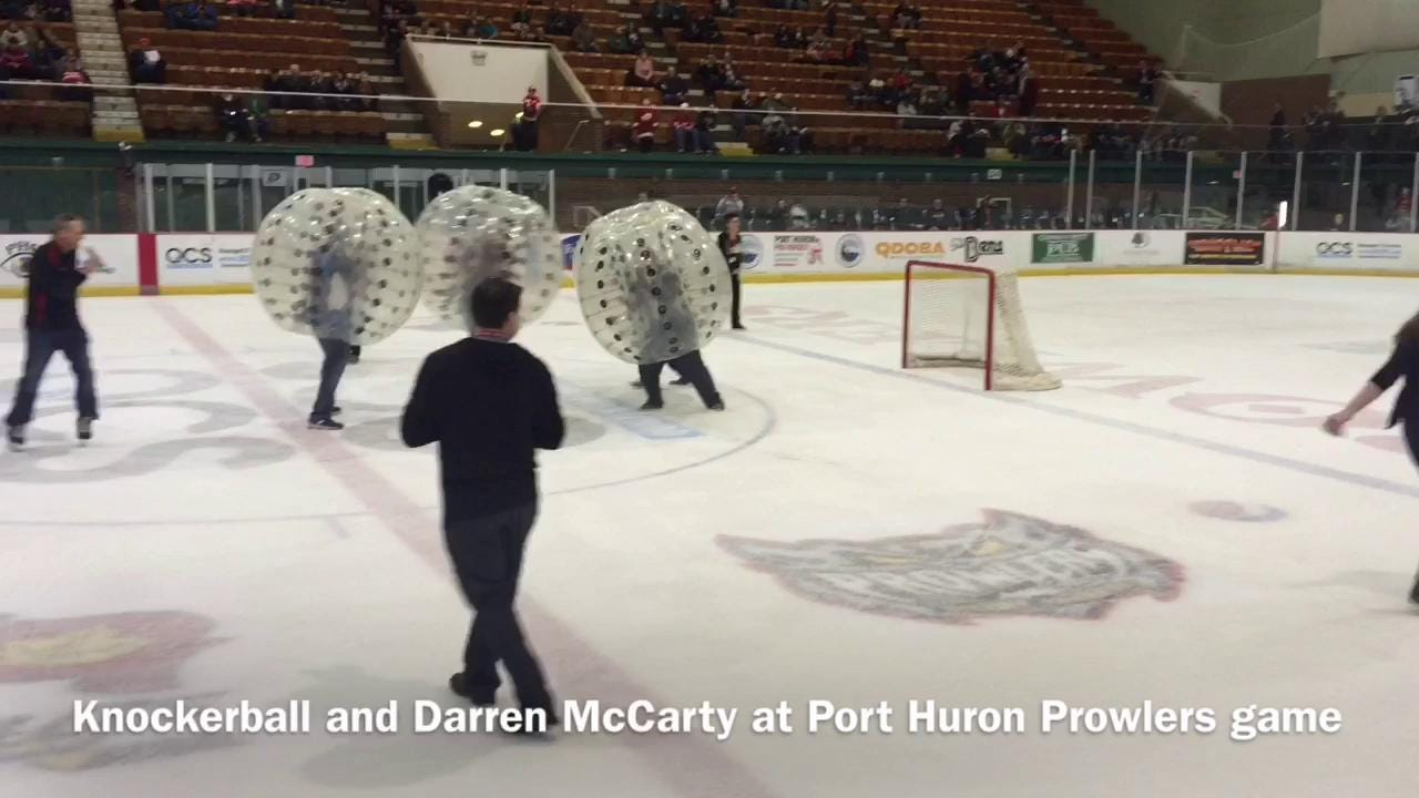 Former Detroit Red Wings forward Darren McCarty plays the role of referee during a knockerball game during the intermission of the Port Huron Prowlers-Brewster Bulldogs game Thursday at McMorran Arena.