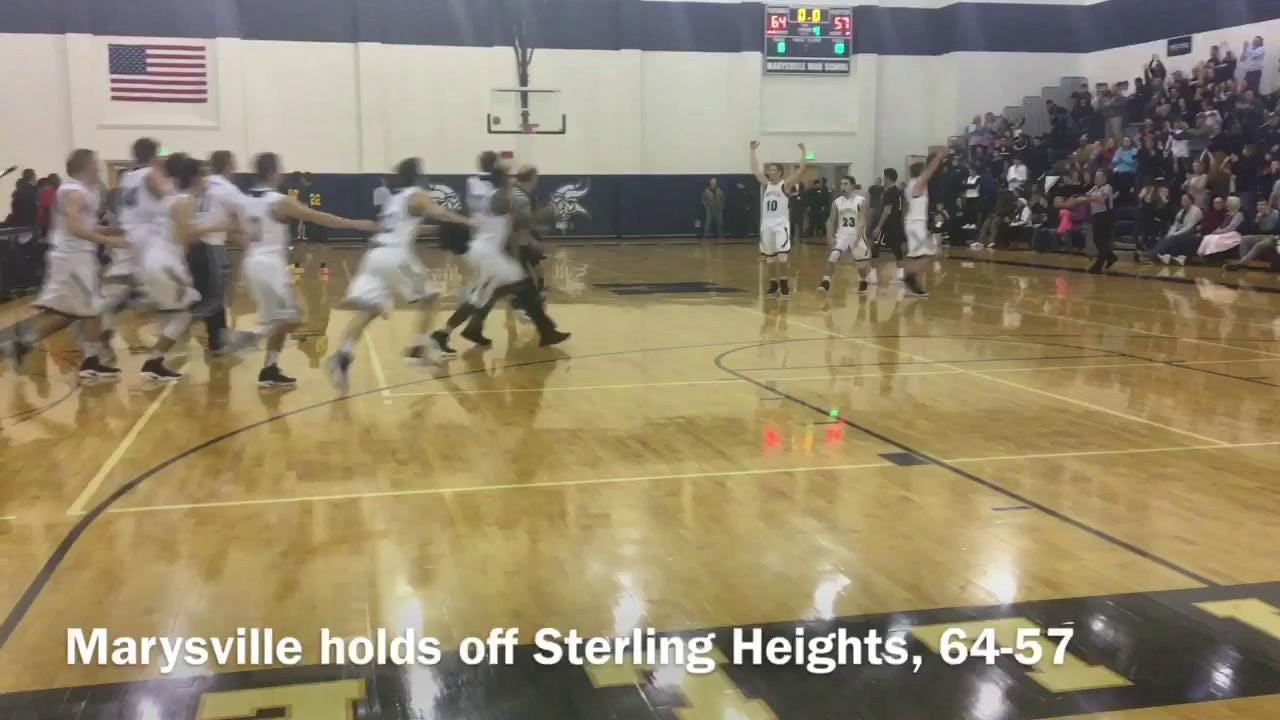 A near skirmish almost developed after the Marysville boys basketball team held off previously unbeaten Sterling Heights