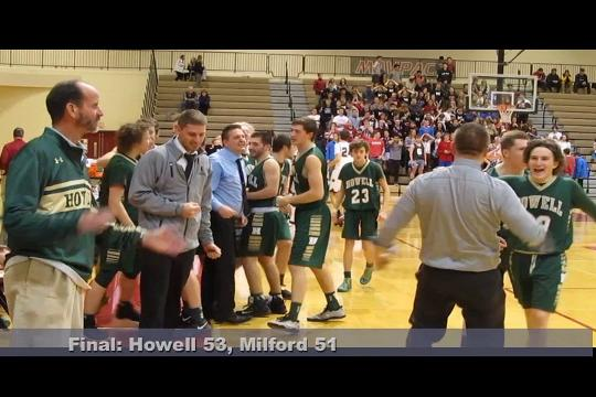 Josh Palo hit the game-winning shot with 10 seconds left, giving Howell a 53-51 victory at Milford.
