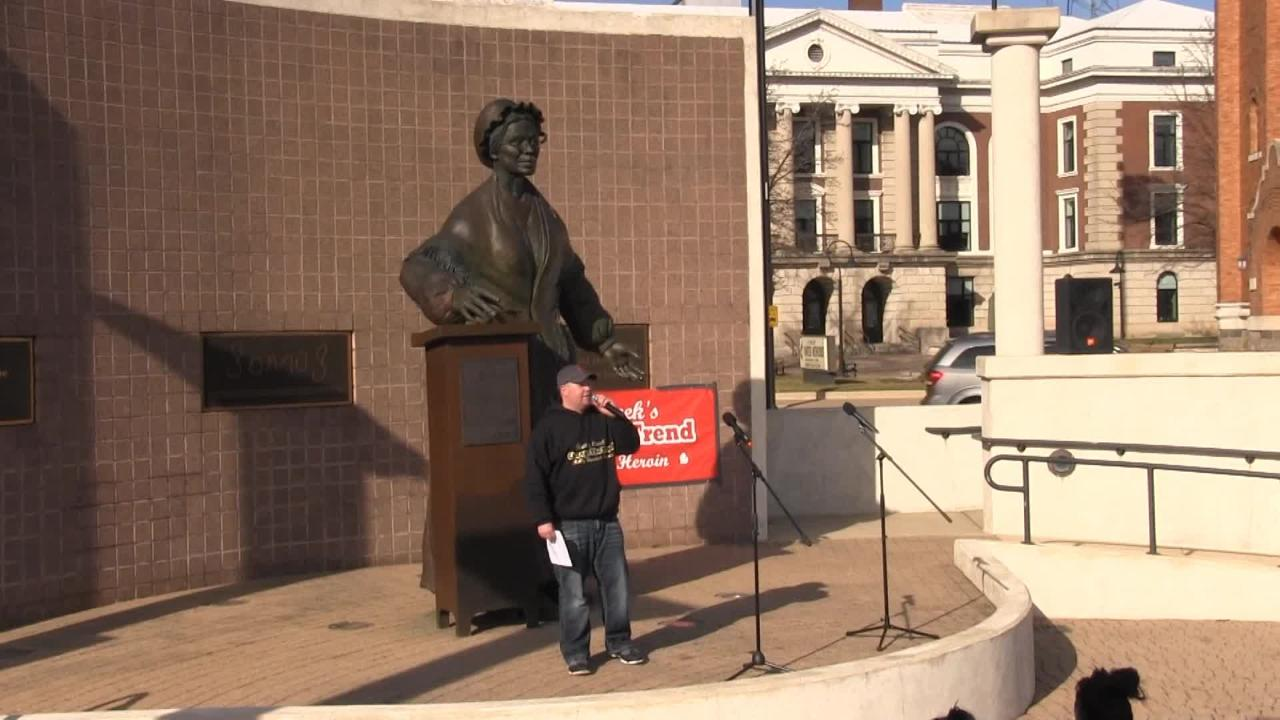 A Battle Creek man organized a local Rally Against Heroin that drew a crowd to downtown Tuesday.