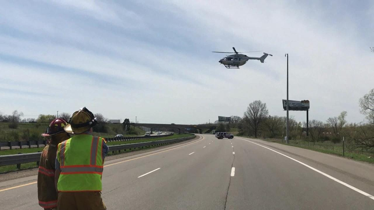 Two people were injured when the motorcycle they were on crashed into a truck April 18. One of them was airlifted to Bronson Methodist Hospital in Kalamazoo.