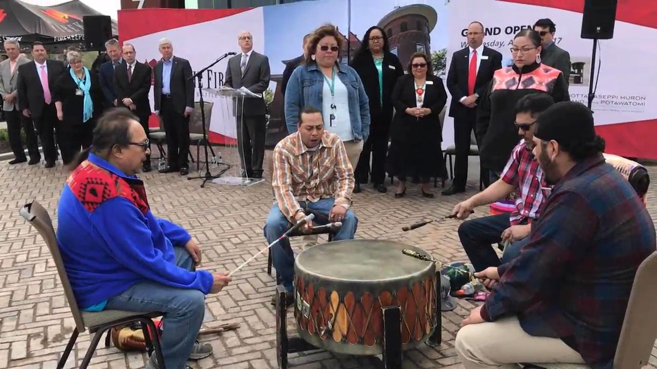 At the opening ceremony for FireKeepers Casino Hotel's Fire Hub restaurant, a drum song was performed by members of the Nottawaseppi Huron Band of Potawatomi.