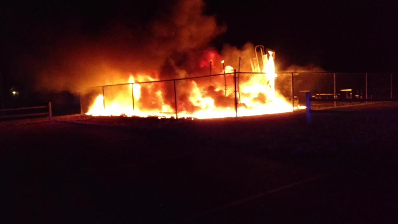A fire at B. Carol Hinton Park, on 27th Street near Frisbie Boulevard in Springfield, on June 19. The fire is considered suspicious. Video provided by the Calhoun County Detective Bureau.