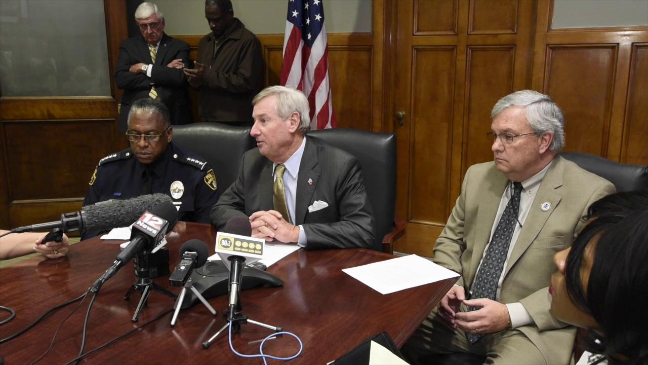 Mayor Todd Strange reacts to the arrest of MPD officer