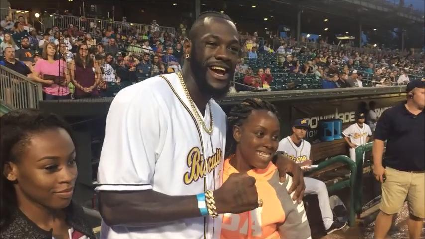 Deontay Wilder throws out first pitch at Biscuits' game